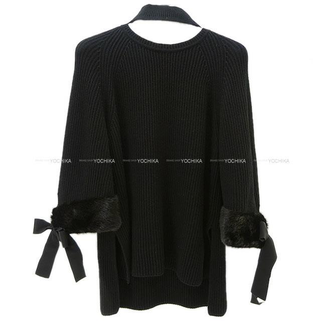 FENDI フェンディ 袖 リボン ホルターネック ニット チュニック 黒(ブラック) #42 FZY545  新品同様【中古】