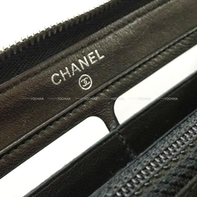 CHANEL シャネル スモール 切替 ココボーイ ラウンド長財布 黒 パテントレザー シルバー金具 A80465 新品未使用