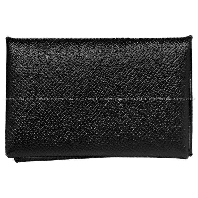 HERMES エルメス カードケース Calvi(カルヴィ) 黒(ブラック) エプソン シルバー金具 C刻印 新品