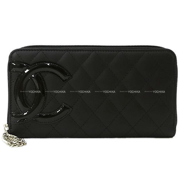 CHANEL シャネル カンボンライン ラウンドジップ長財布 黒X黒(内側ピンク) A50078 新品
