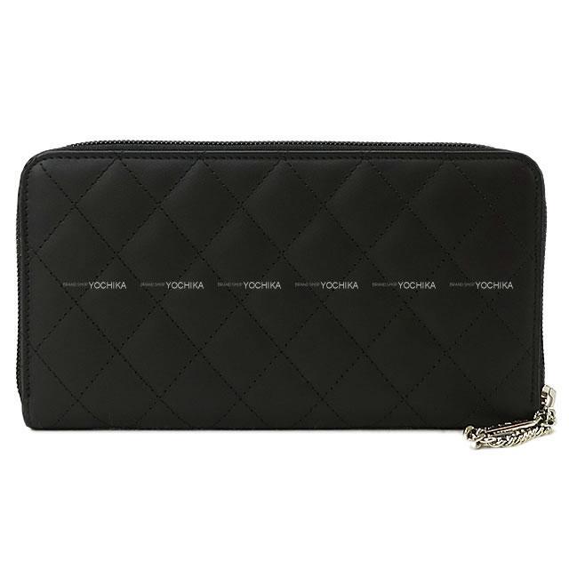 シャネル カンボンライン ラウンドジップ長財布 黒X黒(内側ピンク) A50078 新品未使用