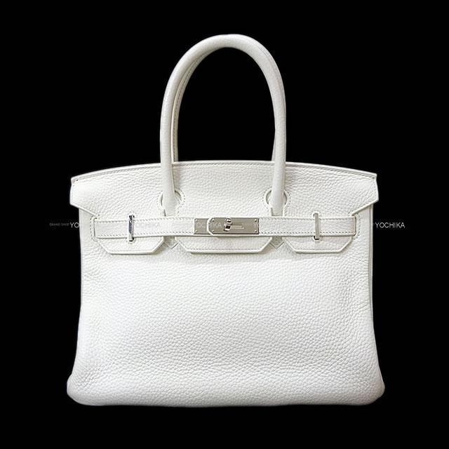 エルメス ハンドバッグ バーキン30 白 (ホワイト) トリヨン シルバー金具 SAランク【中古】