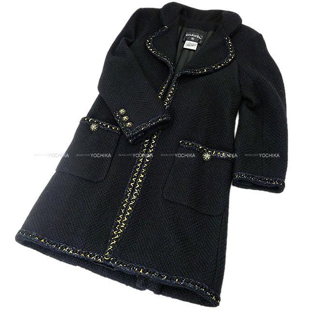 CHANEL シャネル デカゴン ココ ボタン ツィード ロング コート ジャケット #36 P51890  新品同様【中古】