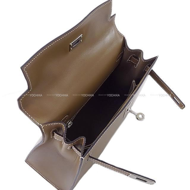 HERMES エルメス ハンドバッグ ケリー25 外縫い エトープ(エトゥープ) ヴォータデラクト シルバー金具 新品