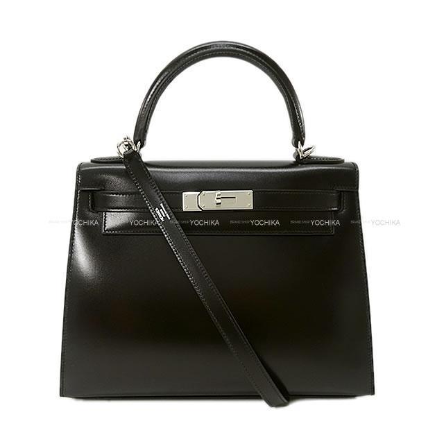 HERMES エルメス ハンドバッグ ケリー28 外縫い 黒(ブラック) ボックスカーフ シルバー金具 新品