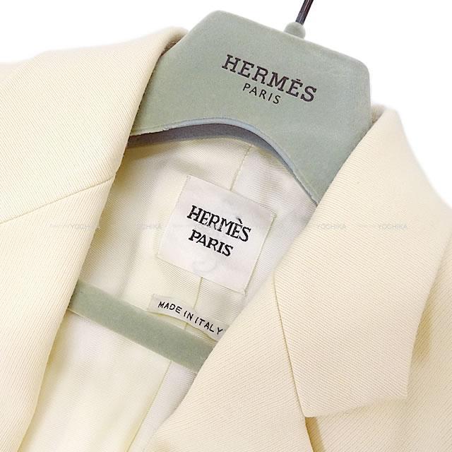 HERMES エルメス セリエボタン ロング チェスター コート エクリュ #38 シルバー金具 新品同様【中古】