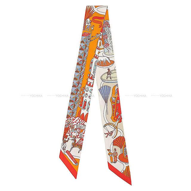 """HERMES エルメス ツイリー スカーフ """"万国博覧会"""" オレンジ/シエル/ブリック シルク100% 新品"""