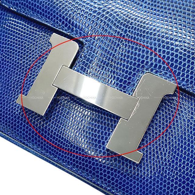 HERMES エルメス ショルダーバッグ コンスタンス3 ミニ 18 ブルーサフィール リザード シルバー金具 新品同様【中古】