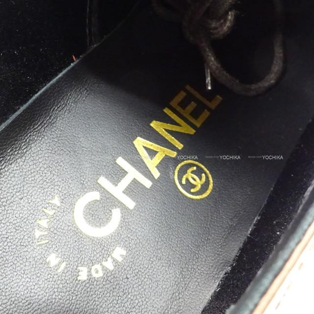 シャネル ココマーク レースアップ シューズ G32330 ゴールドX白X黒 新品未使用