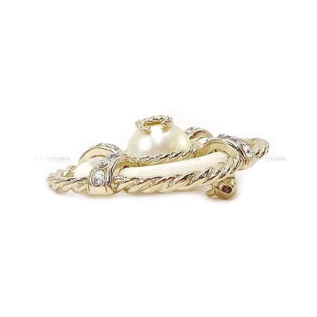 CHANEL シャネル パール ココマーク 浮き輪 ロープ ブローチ B19C 白/ゴールド ゴールド金具 新品未使用
