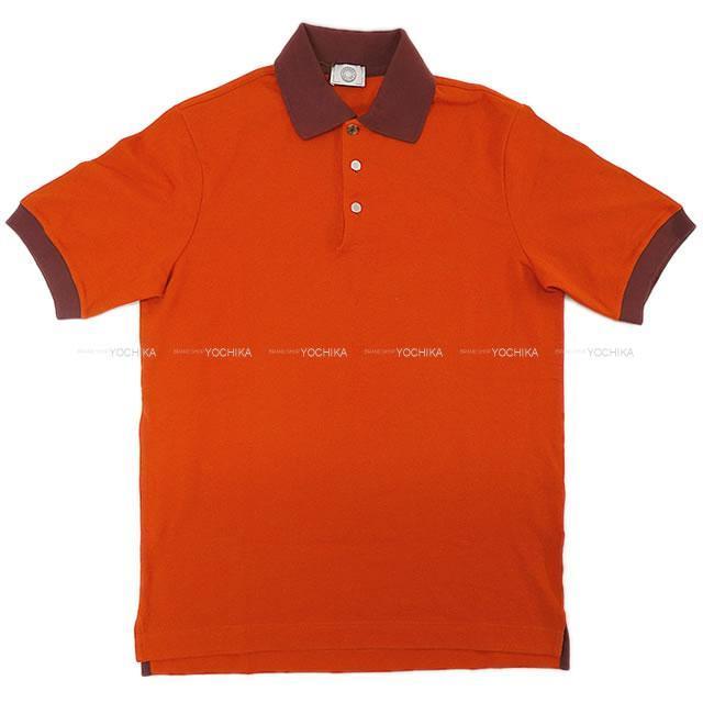 HERMES エルメス メンズ 半袖 バイカラー セリエボタン ポロシャツ フーオレンジ #XS コットン 新品未使用