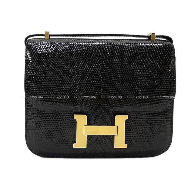 HERMES エルメス ショルダーバッグ コンスタンス 3 ミニ 18 黒(ブラック) リザード ゴールド金具 新品