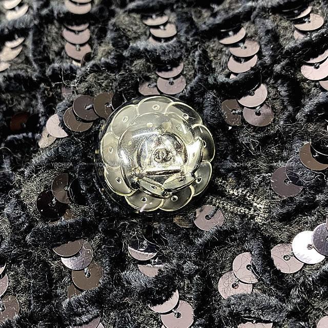 CHANEL シャネル 総スパンコール カメリアドームボタン ジップコート 黒 #38 P50372 新品同様【中古】