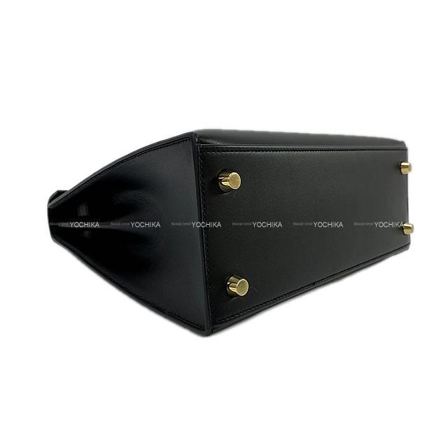 HERMES エルメス ハンドバッグ ケリー25 外縫い 黒 ヴォーソンブレロ ゴールド金具 新品