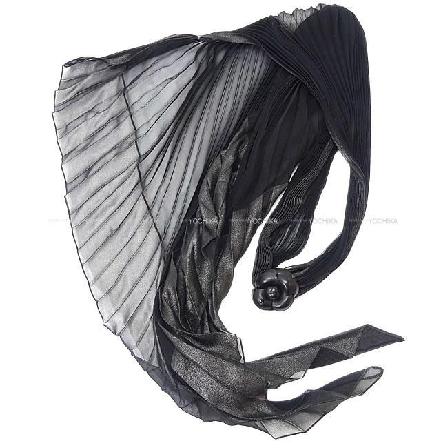 CHANEL シャネル カメリア付 スリムロング ラメ プリーツ スカーフ 黒 シルク ラムスキン 新品未使用