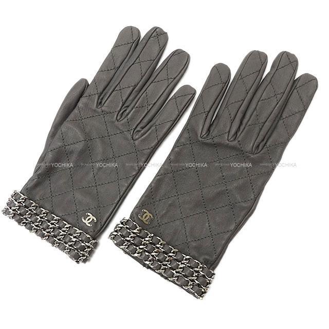 CHANEL シャネル ココマーク トリプルチェーン グローブ 手袋 グレー #7.5 15B 新品未使用