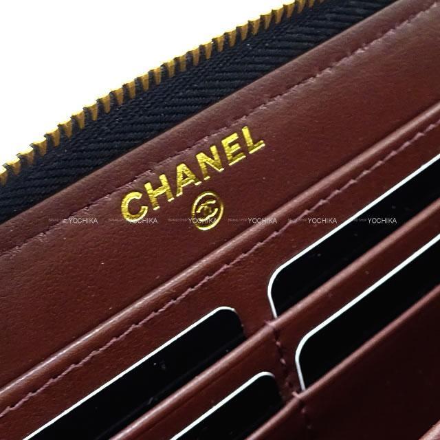 CHANEL シャネル マトラッセ 背面ポケット付き ラウンドファスナー長財布 黒/ボルドー