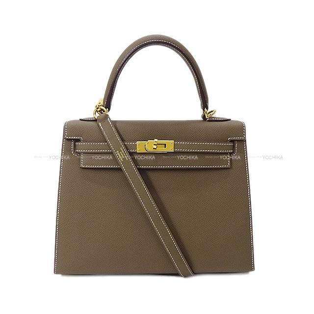 HERMES エルメス ハンドバッグ ケリー25 外縫い エトープ(エトゥープ) エプソン ゴールド金具 新品