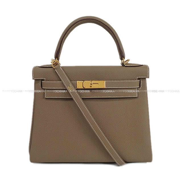 HERMES エルメス ハンドバッグ ケリー28 内縫い エトープ (エトゥープ) トゴ ゴールド金具 新品未使用