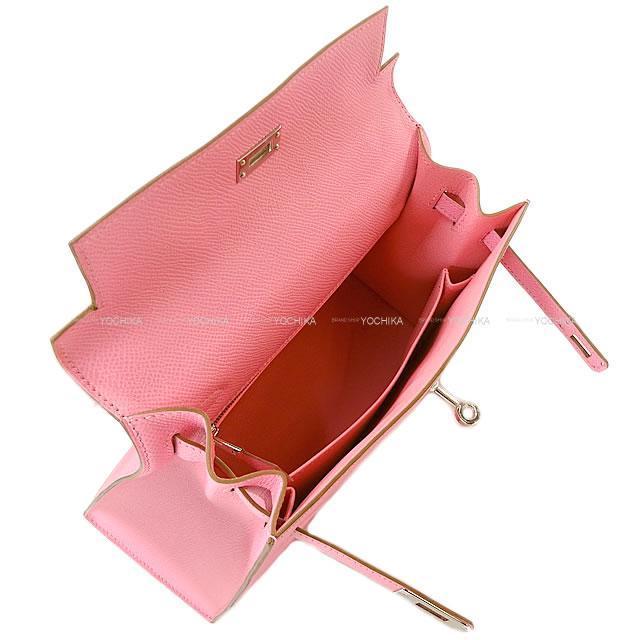 HERMES エルメス ハンドバッグ ケリー25 外縫い ローズコンフェッティ エプソン シルバー金具 新品同様【中古】