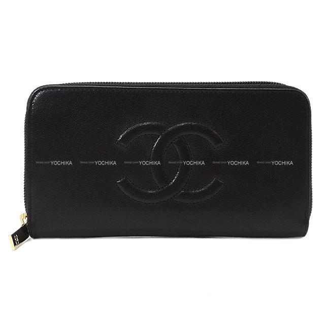 CHANEL シャネル ココマーク ダブルステッチ ラウンドファスナー 長財布 黒(ブラック) A50071 新品
