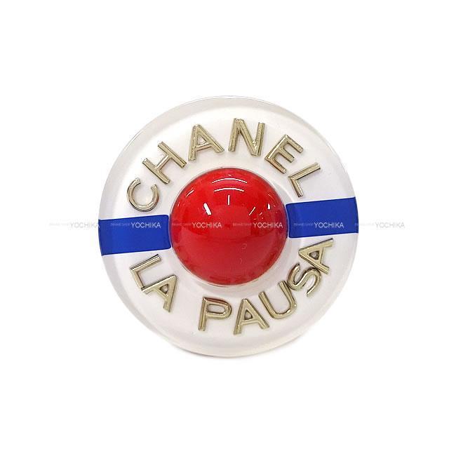 CHANEL シャネル LA PAUSA ラウンド型 ロゴ ブローチ 白/ブ