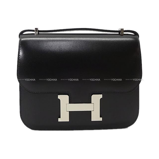 HERMES エルメス ショルダーバッグ コンスタンス3 ミニ 18 黒(ブラック) ボックスカーフ シルバー金具 新品