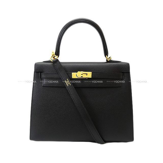 HERMES エルメス ハンドバッグ ケリー25 外縫い 黒 エプソン ゴールド金具 新品