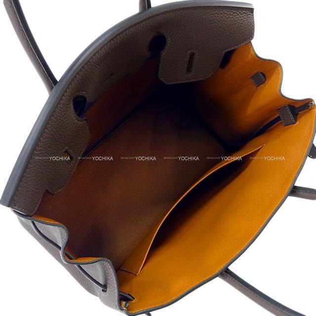 エルメス ハンドバッグ バーキン30 ヴェルソ エベンヌXゴールド トゴ シルバー金具 新品