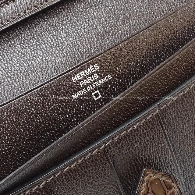 HERMES エルメス 財布 ベアンスフレ エベンヌ クロコダイル アリゲーターマット シルバー金具 新品未使用
