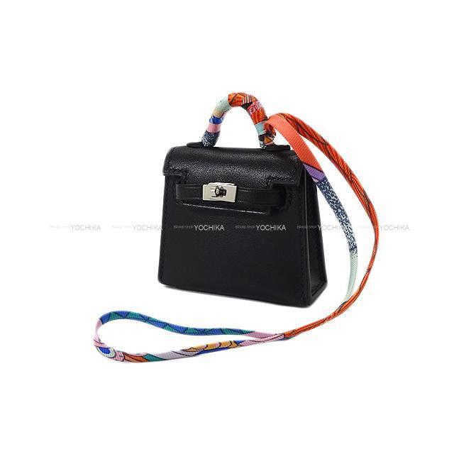 エルメス ミニミニ バッグチャーム ケリートゥイリー 黒 タデラクト シルバー金具 新品未使用