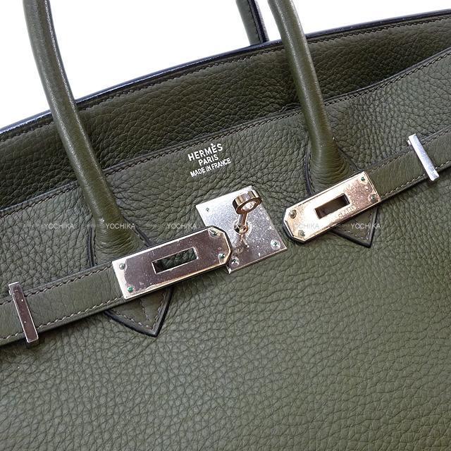 HERMES エルメス ハンドバッグ バーキン35 ヴェールグリス トリヨン シルバー金具 新品同様【中古】