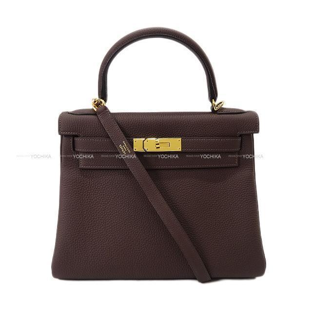 HERMES エルメス ハンドバッグ ケリー28 内縫い ショコラ トゴ ゴールド金具 新品