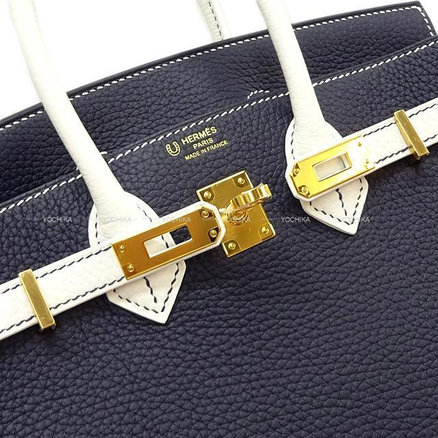 HERMES エルメス バーキン25 スペシャルオーダーブルーニュイ/白(ホワイト) トリヨン ゴールド金具 新品