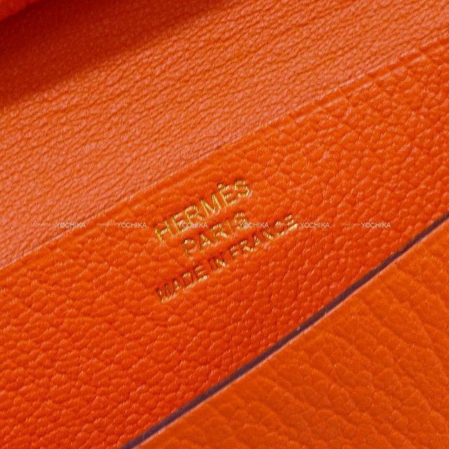 HERMES エルメス ベアンミニ コインケース付き カードケース オレンジポピー シェーブル シルバー金具 新品未使用