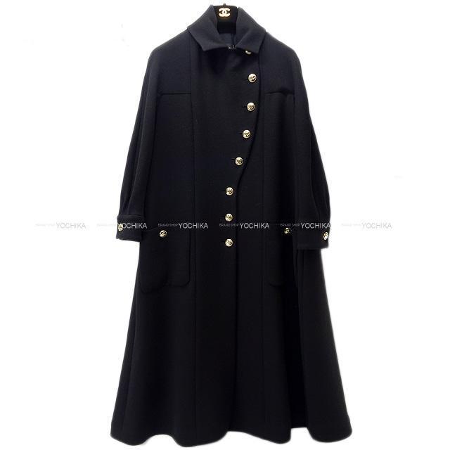 CHANEL シャネル ココボタン クレープ ウール ロングコート