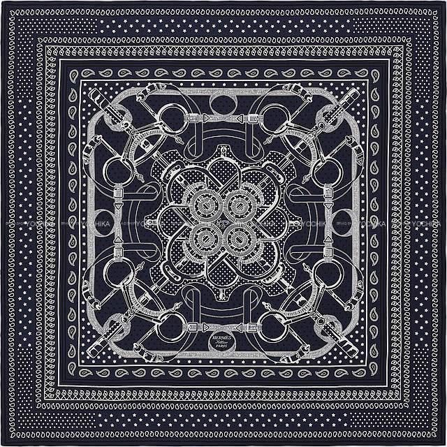 """HERMES エルメス ショール カレ140 """"エプロンドール・バンダナ"""" マリンX黒(ブラック)X白(ホワイト)"""
