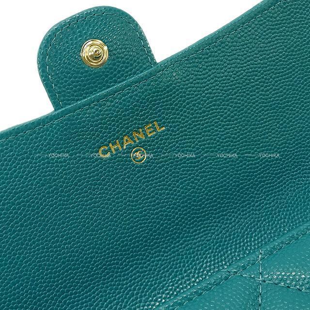 CHANEL シャネル マトラッセ フラップ 長財布 グリーン グレインドカーフ シルバー金具 AP0241 新品未使用