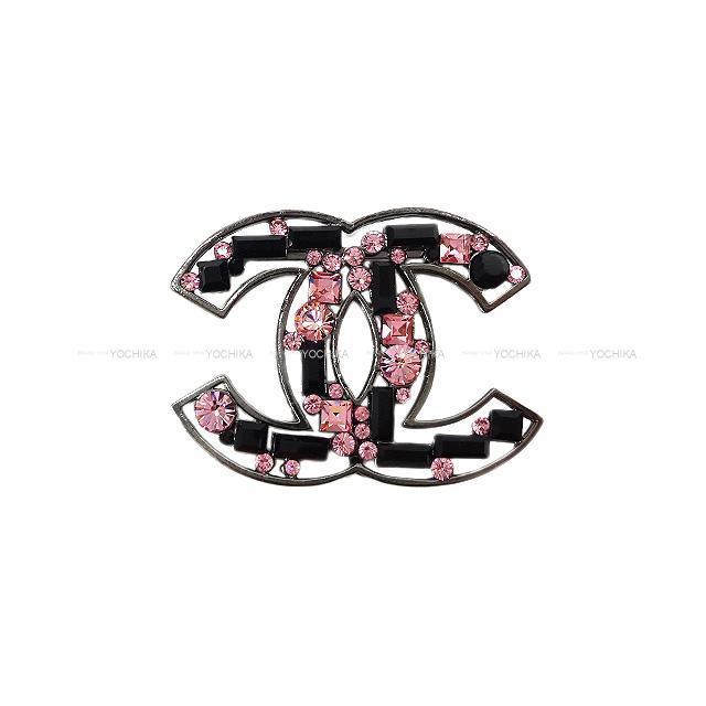 CHANEL シャネル ココマーク ラインストーン ブローチ ピンク/黒 ガンメタル金具 05A 新品未使用