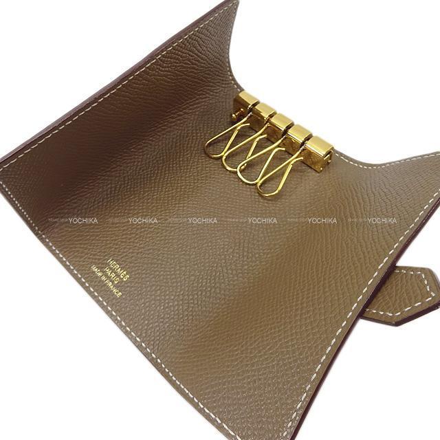 HERMES エルメス ベアン 4連 キーケース エトープ(エトゥープ) エプソン ゴールド金具 SAランク【中古】