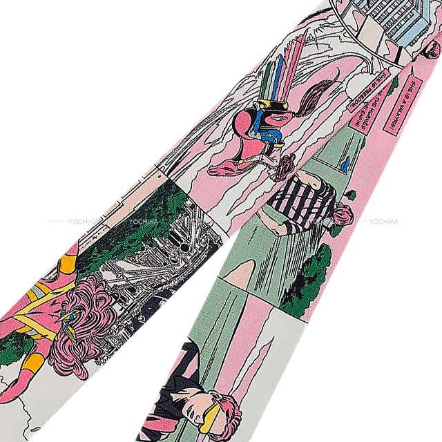 "HERMES エルメス ツイリー スカーフ ""WOW"" アメコミ風 ローズ/ヴェール/ジョーヌ シルク100% 新品"