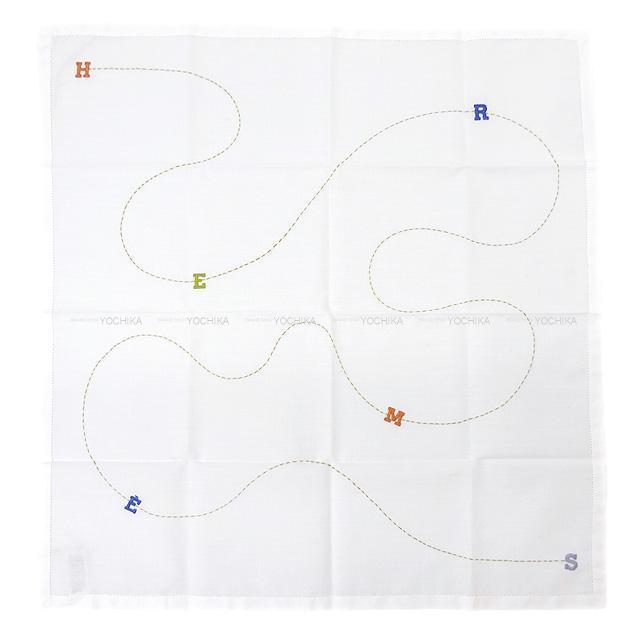 HERMES エルメス ロゴ ステッチ ハンカチ 白/マルチカラー コットン100% 新品未使用