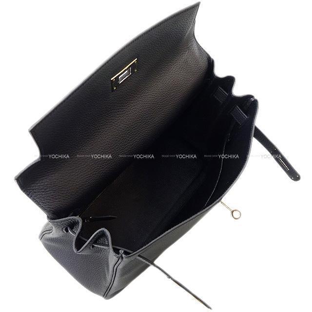HERMES エルメス ハンドバッグ ケリー28 内縫い 黒(ブラック) トゴ シルバー金具 新品同様【中古】