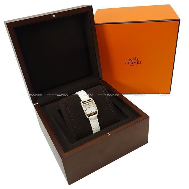 HERMES エルメス レディース 腕時計 ケープコッド PM ダイヤ付 白 アリゲーターマット 新品同様【中古】