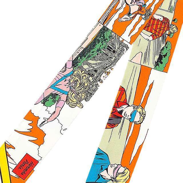 """HERMES エルメス ツイリー スカーフ """"WOW"""" アメコミ風 オレンジ/ヴェール/ジョーヌ 新品"""