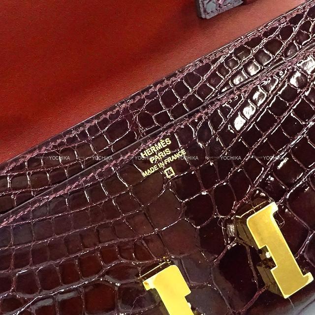 HERMES エルメス 長財布 コンスタンス ウォレット トゥーゴー ロング ボルドー クロコダイルアリゲーター 新品未使用