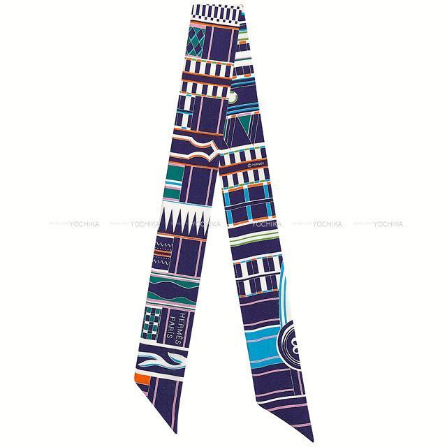 HERMES エルメス ツイリー スカーフ 「ヴォルト・エ・ピルエット」 インディゴ/ローズ/マルチカラー シルク100% 新品