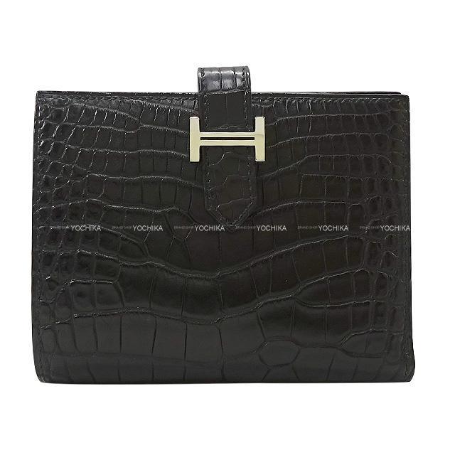 HERMES エルメス 財布 ベアンコンパクト 黒(ブラック) クロコダイルアリゲーターマット