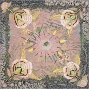 "HERMES エルメス スカーフ カレ90 ""南アフリカの花々"" ヴェール・ローズXヴェール シルク100% 新品未使用"