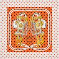 "HERMES エルメス スカーフ カレ90 ""ブリッド・ドゥ・ガラ・ラヴ"" オレンジ×マリン×白 シルク100% 新品"